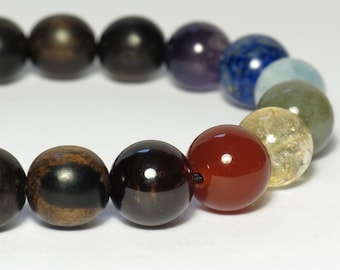 Seven Chakra Wrist Mala, Natural Gemstone,  Tiger Ebony Wood, Stretchy Bracelet, 10mm, Large Beads, 7 Chakra Mala, Yoga Bracelet, Stackable