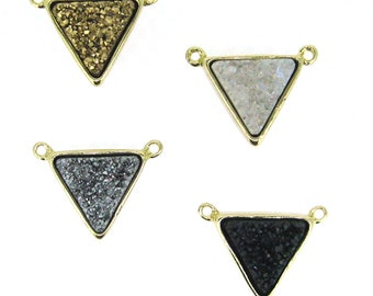 Gold Plated Agate Titanium Triangle Druzy Connector for Necklace in Gold, Silver, Black, or White - Wholesale SKU: 292288