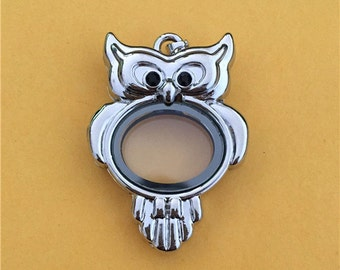 Silver Owl Floating Locket - Memory Locket - Floating Locket - 45x35mm