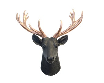 Mini Deer Head Wall Mount in Black and Rose Gold - Faux Taxidermy Deer Head - Chic Office Decor - Home Decor Wall Mount SD1711