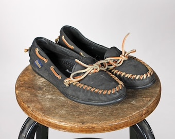 Vintage Smokey Grey Leather Moccasins- Flat Shoes Moccasin Flats Gray Brown Laces Bow Women's Boating Casual Retro Dexter - Size 7