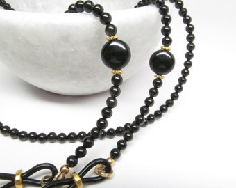 Black Pearl Eyeglass Chain accented with gold, Reading Glasses Necklace, Eyeglass Holder, Pearl Eye Glass Chain, Black Eyeglass Leash