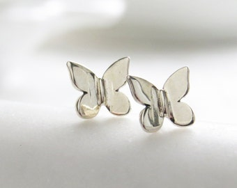 Tiny Butterfly Studs • Petite Butterflies • Butterfly Silhouette Posts • Simple Minimal Earrings • Sterling Silver Butterfly • Stud Earrings