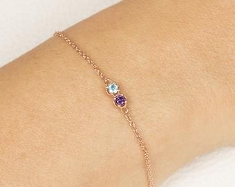 Custom Birthstone Bracelet, Birthstone Charm Bracelet, Rose Gold Bracelet, Birthstone Bracelet, Bracelet for her, Bracelet for Girlfriend