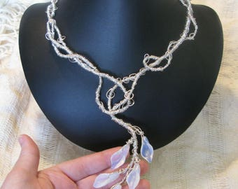 Ethereal - hand-built sculptural necklace - sterling silver - opalite glass