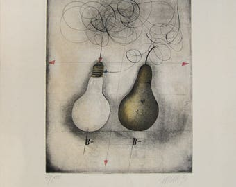 """Alois Janak - """"Pears"""" - Handsigned Etching, 1976"""
