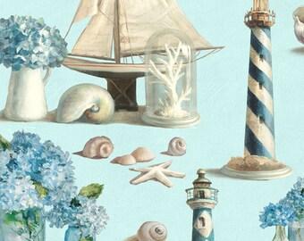 Nautical Knick Knack Fabric, Coastal Fabric, Lighthouse Fabric - Coastal Bliss-  Wilmington Prints - 89174 441 - Priced by the 1/2 yard