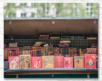 Paris Photograph on Canvas - Antique Books Stall, Gallery Wrapped Canvas, Architecture Photograph, Urban Decor, Large Wall Art