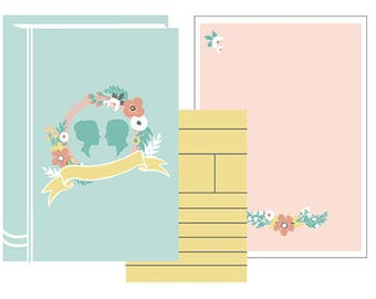 Blank DIY Library Book Invitation Set PDF (Bride and Groom Silhouettes - Blue/Pink)