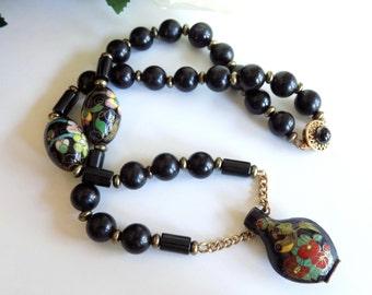 Vintage Cloisonne Urn Pendant on Black Beaded Necklace Sterling Clasp