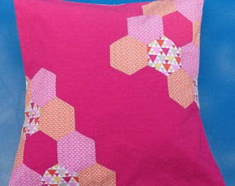 patchwork pink and orange - 40 x 40 cm Cushion cover
