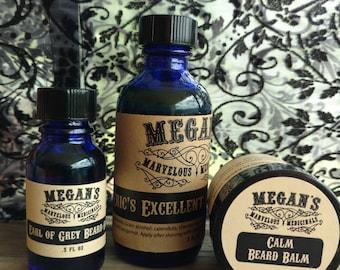 Beard Care Kit, beard balm, beard oil, aftershave, shea butter, calendula, chamomile, sweet almond oil, grapefruit bergamot all natural