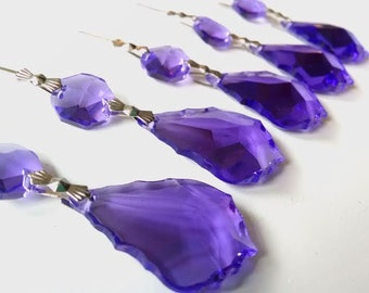 5 Violet Purple 76mm French Cut Chandelier Crystals Ornaments