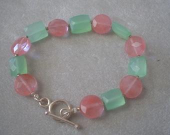 Candy Colors Cherry Quartz and Blue Chalcedony Bracelet