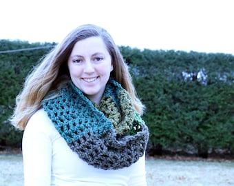 Chunky Crochet Infinity Scarf, Modern Crochet Green and Brown Scarf