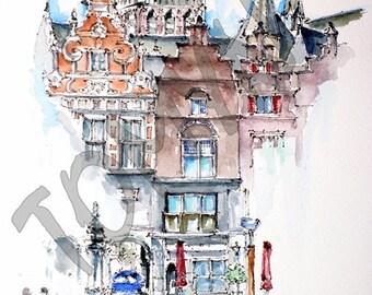 Grote Markt, Nijmegen, Netherlands. Original watercolor painting.