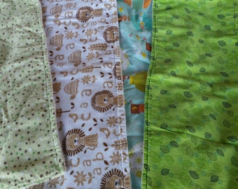 Baby Burp Cloths -Set of 4 -Gender Neutral / New Baby / Handmade Baby Gifts