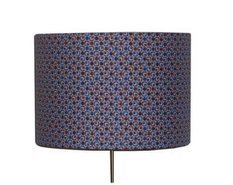 Retro drum lampshade, Mid century modern lamp shade, Father's Day Gift, Geometric Dots Squares shade, Detola and Geek, UK Lampshade Seller