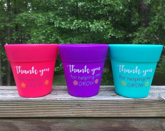 Teacher Gifts - Plastic Flower Pots - Bright & Vibrant / Thank You For Helping Me Grow