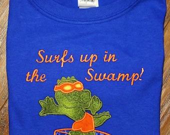 Gator, Florida, Florida Gator, boy clothes, t shirt, t-shirt, tshirt, blue, orange, alligator, blue shirt, personalized, custom, handmade