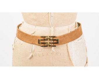 Vintage Christian Dior suede belt / 1980s buttery soft suede waist belt with gold tone geometric clasp / Adjustable size / Small medium
