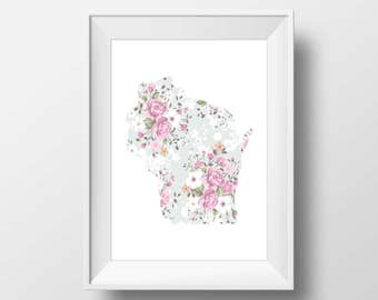 Wisconsin State Floral Printable Art, Wisconsin Print, Wisconsin, Modern Art, Floral Print