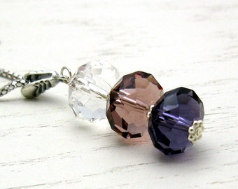 Pastel Pink and  Purple  Minimalist  Crystal Pendant Necklace     Sterling Silver Necklace, for her Under 100 Free US Shipping