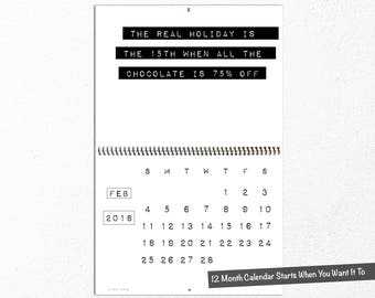 2018 Funny Wall Calendar, Sarcastic, Sassy, Rude Office Humor, Hilarious Uncensored Bitch, Black and White, Coworker Gift, Second Edition