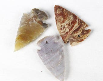 "Multipack approx 2"" DRILLED Agate Arrowheads Stone Knapped Arrowhead Spear Point Reproductions"