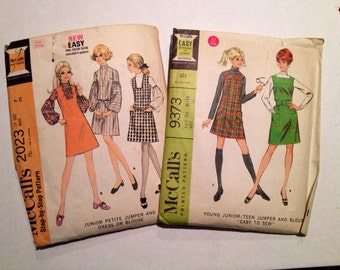 A Pair of 1960's McCall's Junior Sized Jumpers, # 2023 & 9373
