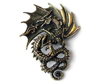 Bronze pendant dragon (1) Dragon necklace Ancient symbol Fantasy jewelry Bronze dragon Eastern jewerly Jewelry dragon Gift for boylfriend