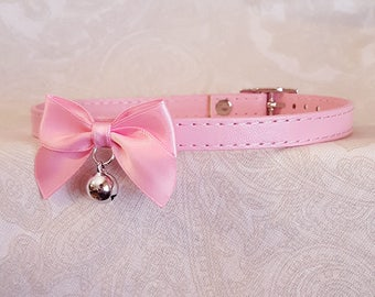 10mm Light Pink Faux Vegan Leather and Bow Choker Buckling Kittenplay Petplay Collar