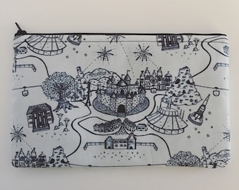 Disneyland-Inspired Illustrated Park Map Handmade Fabric Large Zipper Pouch/Cosmetic Bag/Pencil Pouch