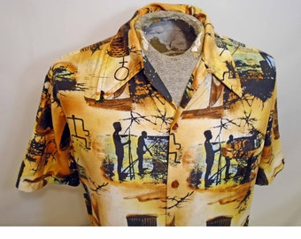 Vintage Barefoot in Paradise 1970's Men's Bronze Psychedelic Short Sleeve Shirt Size Medium
