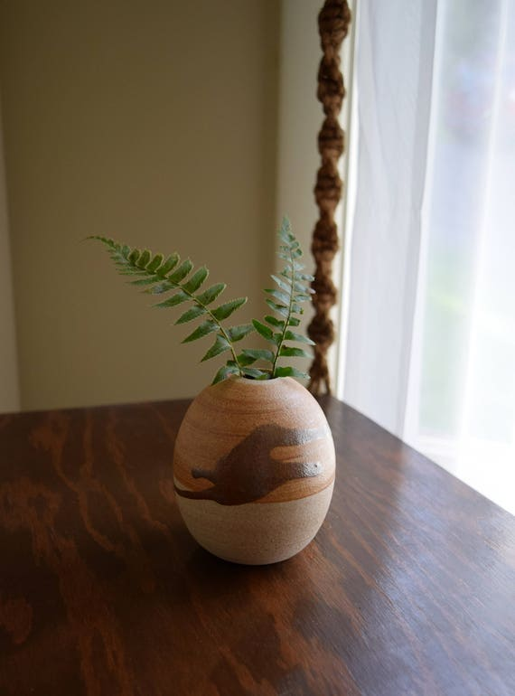 Small Vintage Ceramic Bud Vase  ~ Boho, Mid Century, Simple, Natural