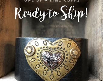 Ready to Ship Cuff - layered heart - black cuff - Love Squared Designs
