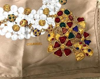 Chanel Scarf Beige Vintage Silk
