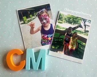 POLAROID STYLE Custom photo magnets, Set of (2) VERTICAL magnets