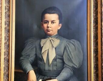 Antique Oil on Canvas Painting Portrait Italian Young Girl End 19th Alatri Lazio