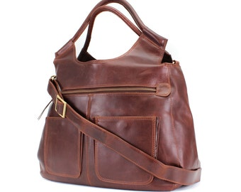 Leather Weekend Bag/ leather holdall/ leather daiper bag/ handbag