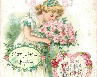 Large digital download Dear One Heart Pink Roses vintage Ephemera Valentine single image ECS buy 3 get one free ECS
