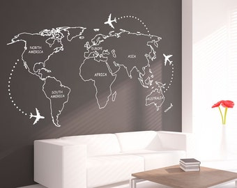 World map wall decal etsy more colors world map outlines wall decal gumiabroncs Gallery