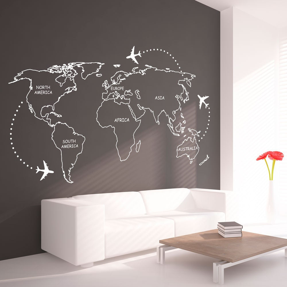 World map outlines wall decal continents decal large zoom amipublicfo Images