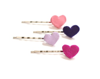 Heart Hair Pins, Hair Bobby Pins, Heart Hair Bobbies, Pink Hair Pins, Handmade Bobby Pins, Hair Accessories, Gifts for Her, Valentines Day