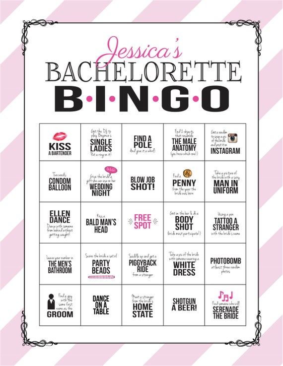 Bachelorette party game bingo dare sheet digital file print solutioingenieria Images
