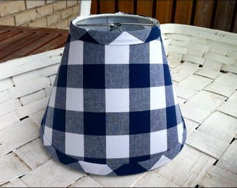 Navy lamp shade etsy buffalo check navy and white gingham clip lampshade large gingham check shade aloadofball Image collections