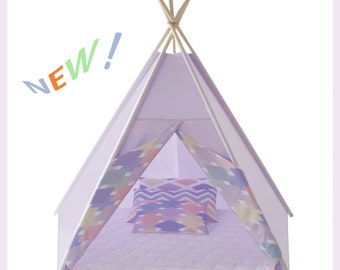 Tipi Teepee Tipi Play Mat Tent XL  Springs ( Lilac Land ) HANDMADE