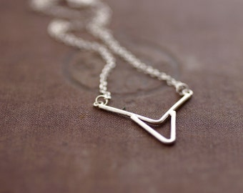 Small Sterling Arrow Pendant - Chain Necklace - Sterling Silver