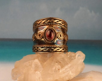 Vintage Tall Cigar Band, Sterling Silver Ring with Garnet Cabochon, Size 7