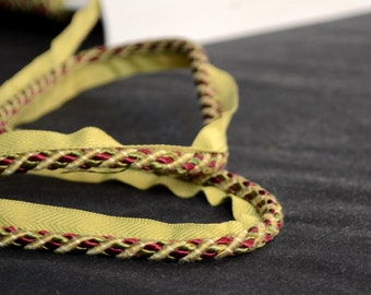 Small Weaved Gold Red Green Lip Cording Trim BD310 8